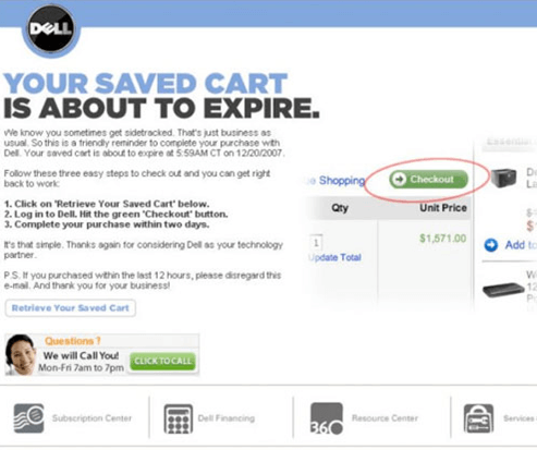 Dell abandoned shopping cart email